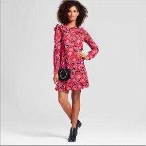 Who What Wear floral print ruffle l/s dress XS